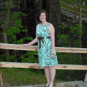 Mint and chocolate knee length dress